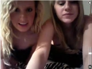 A couple of nice college coeds doing some webcam from a hotel room.  They hide behind a blanket for awhile, but start showing their gorgeous tits.  Then they stand up and lower their bikini bottoms to flash their pussies.