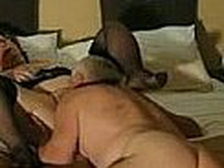 Aussie grandma in black nylons fucks with her husband, those two put a lot of fresh couples to shame, they are still immodest in their late years, they even make sex tapes.