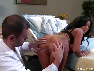 Breasty dark brown in underware Sienna West takes off her thong and bends over for doctor Ralph Long. She spreads her buns to examine and tongue fuck her neat asshole.