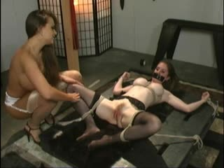 Tied down girl slaped around and abused