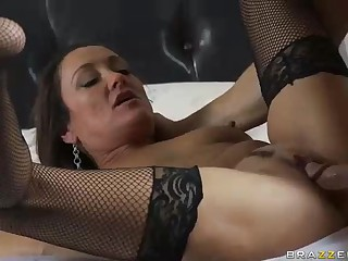 MILF Michelle Lay in black mesh nylons is sex hungry after  divorce. Johnny Sins is her BF and his dong is big! She blows his meat pole and then gets her mad mature snatch drilled.