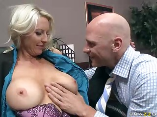 Busty office milf Emma Starr receives her tits and twat eaten