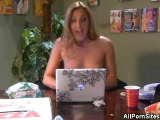 Busty Golden-haired With a Foot Amulet Gives a Blowjob