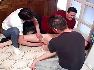 She comes over be incumbent on a drink and gets tied in the air and abused and fucked hard