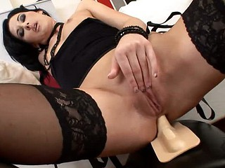 Lulu rides the Sybian saddle , dressed at her hawt superlatively great in dark stockings, thong, and a little dark top, she moves aside her panty crotch and settles her shaven vagina down on the vertical rubber dildo. Our DDF cameras come in close to capt