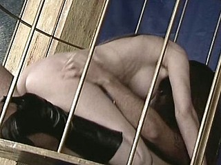 Hot caged dancer from brazil gets her ass fucked from beneath