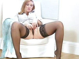 Busty office milf receives off when this babe receives home