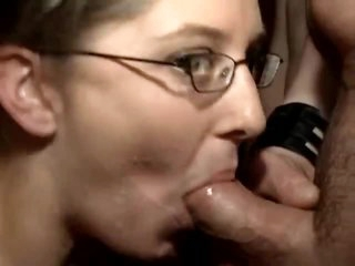 Chubby chick with pierced tongue in gangbang