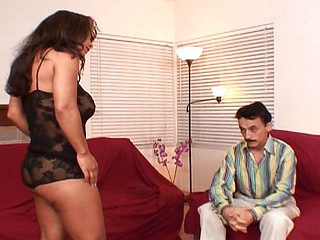 Older guy gets a nice piece of busty brunette cougar to nail