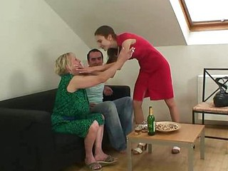 He cannot resist the granny slut
