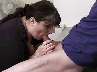 Enormous girl banged in office