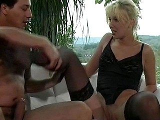 Blonde german bitch takes on two chaps in her ass and pussy