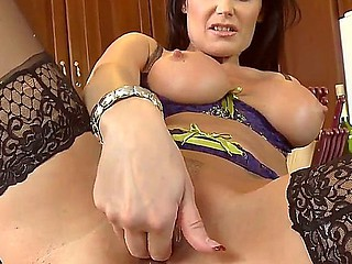 Milf helter-skelter grand tits Eva Karera gets self-satisfied by horny advanced position helter-skelter a large flannel