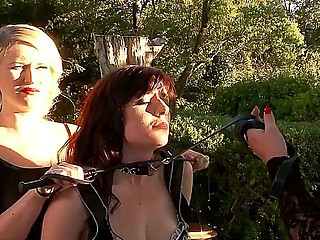 A handful of BDSM bitches Ruby Rubber, Samantha Bentley added to Tegan Jane having rude nance bondman fuck outdoor!
