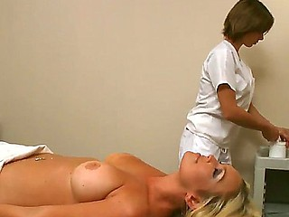 Nice golden-haired Abbey Brooks enjoys full massage session finnished with deep oral