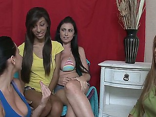 Chloe J,Emmanuelle London,Mercedes Lynn plus Nadia Nicole in unrestrained lesbo group making love