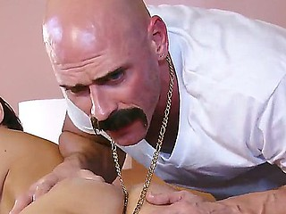 Katie Jordin receives professional massage by Johnny Sins with elements for volcanic gender