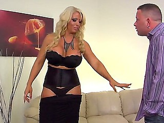 Mature blonde milf Alura Jenson with huge soaked pantoons domaintes over Jeremy Conway and gets her big wazoo licked