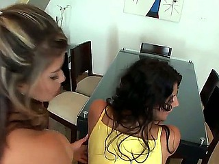 One phat thing for two spicy nice girls Juliana and Natalie to engulf and smash