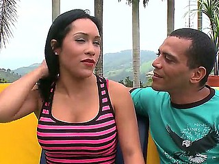 Youthful girl Celeste is being seduced on camera by her boyfriend outside in public