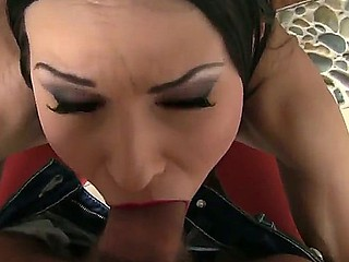 Brunette sweetheart Abbie Cat enjoys intense pelasure while fucking with concupiscent male David Perry