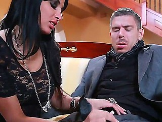 Busty dark brown with pretty face Anissa Kate is always cheerful to taste Micks dick