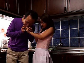Sexy housewife Satomi Suzuki is lusting for board after he helped her with a cut finger