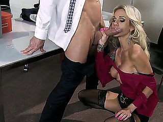 Muslced Johnny Sins acquires his huge knob sucked by tattooed blond milf Sarah Jessie about massive racy hooters