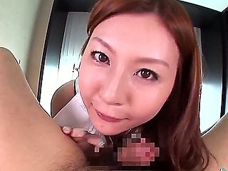 Horny asian honey Yui Tatsumi is eager to deep suck this men hard dick