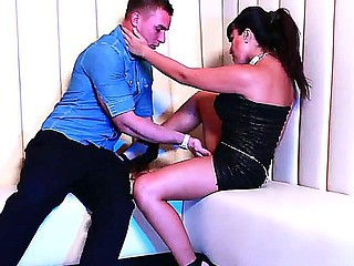 Hot seduction of a attractive guy done by the beautiful dark haired babe Valery Summer
