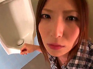 Petite eastern babe Yuna Shiina with pretty face plus tight hot congregation sucks unbending meaty paper money in WC