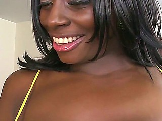 Fatty, but appetizing Ebony girl Karina came to surprises this lucky man with the pair of real mounds