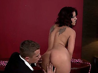 Brunette in sexy nylons Angelr Rivas gets seriously pounded by hawt stud
