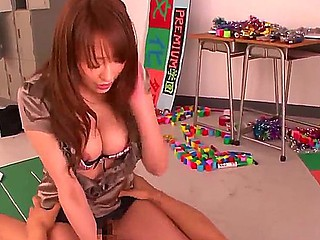 Plump Asian teacher Arisa Sawa uses her own methods of education with lonely students
