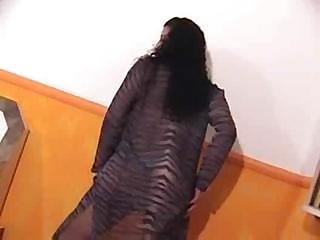 Passionate sex back a curly-headed TS