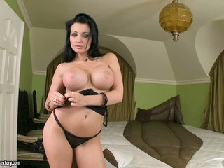 Hot titted Aletta Ocean discloses her strong melons teasing everyone's attention