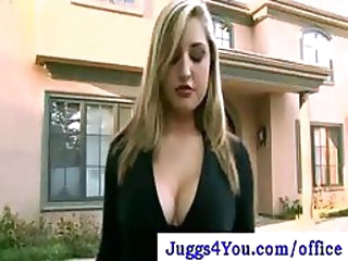 Exceedingly Breasty Blond Office Doxy Can't live without Cleaning In Her Pantyhose