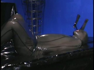 Sub Chicks Immobilised In Tight Latex