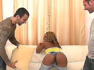 Attractive young anticipating tow-headed ebony Kaylyn