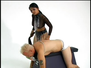 Dominant Mika Tan Ties Up a Submissive Cohort And Tortures His Balls
