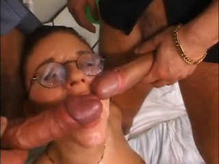 Girl takes loads on the top of her glasses