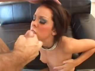 Glamorously lewd lady sucks cock for facial