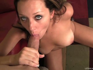 Brown haired chick Scarlett Marx with natural tits and cleanly shaved snatch takes off her red pants and takes neighbour 's prick in her mouth. She sucks him hungrily and then opens her legs to enjoy muff diving.