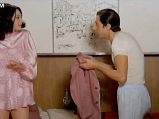 Naturally Busty Retro Brunette hair Edwige Fenech Undresses To Her Panties