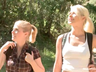 Blonde haired tourists Anikka Albright coupled with Penny Pax