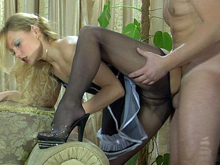 Upskirt demoiselle getting groped added to dicked in her sheer melancholic undershorts added to heels