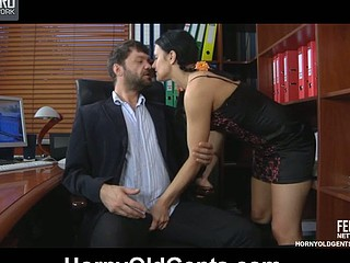 Sassy youthful secretary seduces her aged boss into a vigorous office quickie