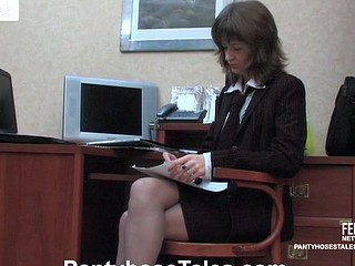 Lewd secretary sucking pantyhosed knob longing to take it up her fiery twat