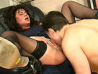 Older love whoppers and muff longing for some attention from well-hung younger guy