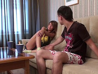 Dealings fascinate legal age teenager chick kneels